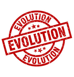 evolution round red grunge stamp vector image vector image
