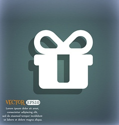 gift icon symbol on the blue-green abstract vector image
