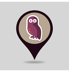 Halloween owl mapping pin icon vector