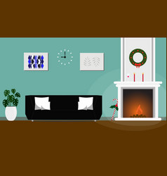 Living room interior christmas style decorated vector