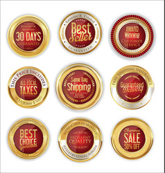 luxury gold and red badges collection vector image