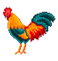 Pixel rooster isolated vector image