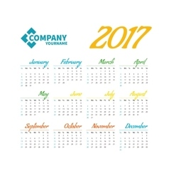 pocket calendar2017 vector image