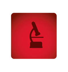 Red emblem microscope icon vector