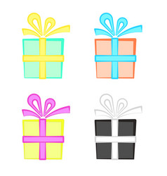 set of cute colorful cartoon present boxes gift vector image vector image