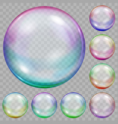 Set of multicolored transparent soap bubbles vector