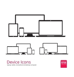 Smartphone Tablet Laptop and Desktop Computer vector image vector image