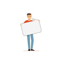 smiling man character with empty message board vector image
