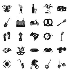 street festival icons set simple style vector image