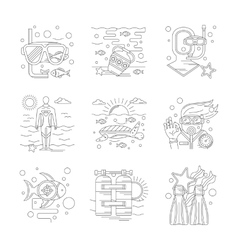 Undersea vecations of detailed line icons vector image