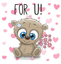 Valentine card cute cartoon bear with flowers vector