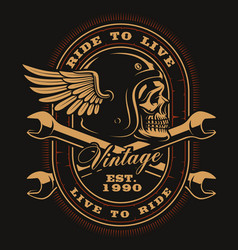 vintage biker skull with crossed wrenches vector image