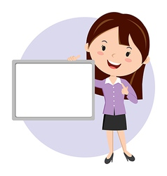 Woman holding whiteboard vector