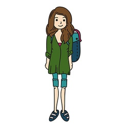 Woman with a rucksack vector