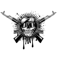 Skull in beret crossed assault rifle on grunge vector