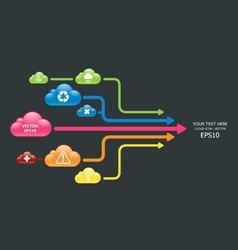 cloud color arrow graph vector image
