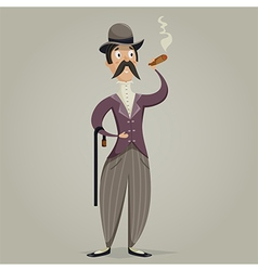 Gentleman with cigar and stick vector