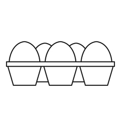 Eggs in carton package icon outline style vector image