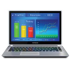 Website analitycs on laptop computer screen vector