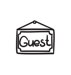 Hanging board with word guest sketch icon vector