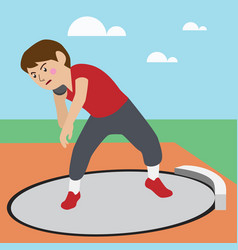 Shot-put athletic sport cartoon set vector