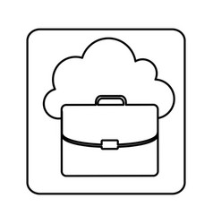 Figure cloud suitcase network icon vector