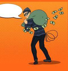 Pop art thief in black mask stealing money vector