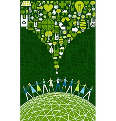 Green people eco world vector
