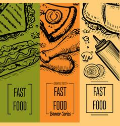 Fast food vintage hand drawn flyer set vector