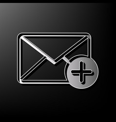Mail sign with add mark  gray vector