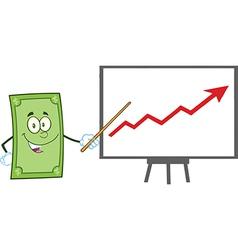 Green dollar bill cartoon vector image