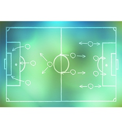 Drawing a soccer game strategy on background vector