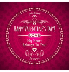 Red valentines day greeting card with hearts vector