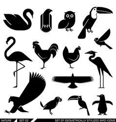 Set of geometrically stylized bird icons vector image