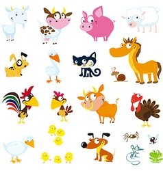 Set of simple images of farm animals - vector