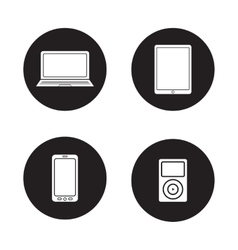Modern gadgets black icons set vector