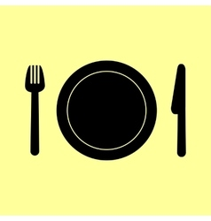 Fork plate and knife vector