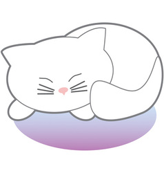 White sleeping kitty vector
