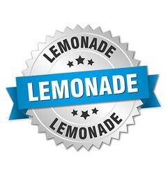 lemonade 3d silver badge with blue ribbon vector image