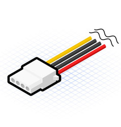 Isometric 4 pin power connector vector