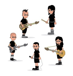 Male cartoon character music band theme vector