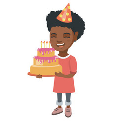 african child holding birthday cake with candles vector image vector image