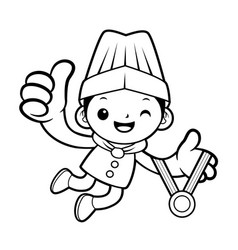 Black and white funny chef mascot receive a gold vector