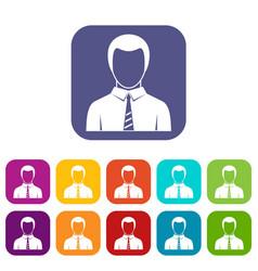 businessman icons set flat vector image vector image