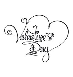 Caligraphic Text Valentines Day vector image