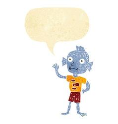 Cartoon waving fish boy with speech bubble vector