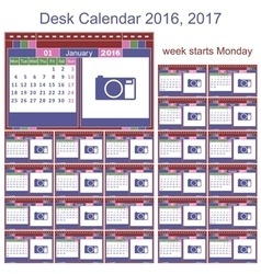 Desk calendar 2016 2017 vector image