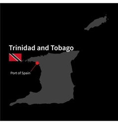 Detailed map of trinidad and tobago and capital vector