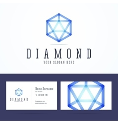 Diamond logo and business card template vector image vector image