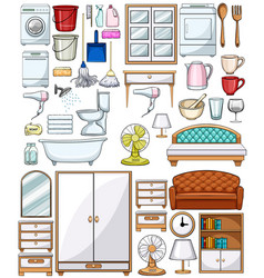 different household equipments and furnitures vector image vector image
